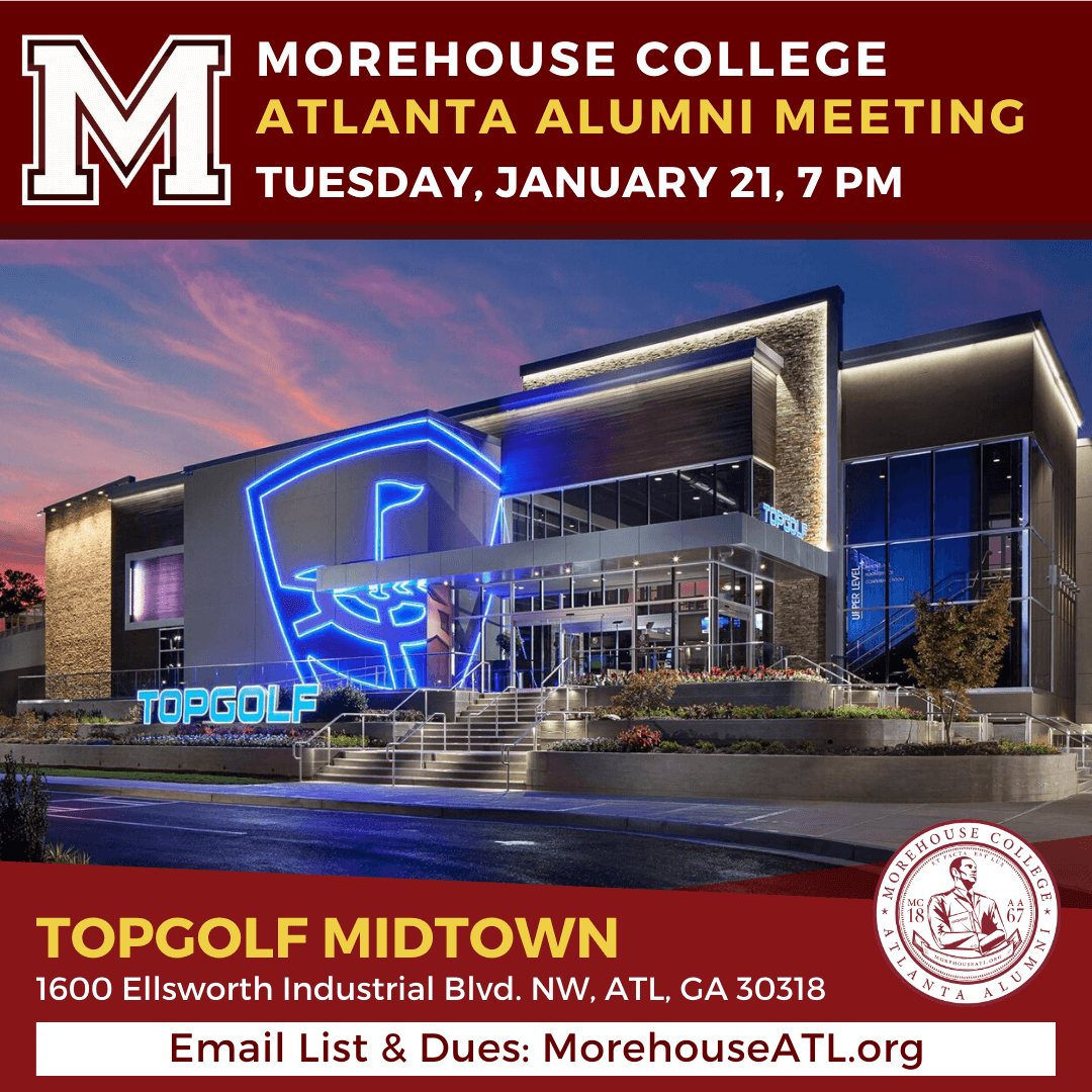 Flyer - Morehouse ATL Alumni January 2020 meeting at Topgolf